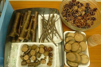 材料は鷲羽山で取れた桜の枝、松ぼっくり 児島市内のどんぐり、くりを使いました。